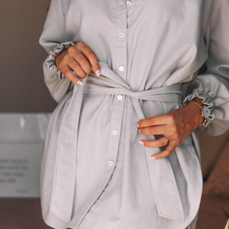 Camisa cinzenta, camisa confortável, camisa com manga de folho